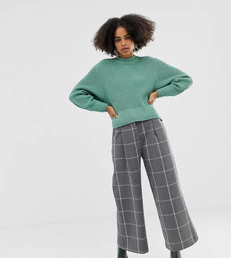 Monki wide leg cropped pants with check print in grey