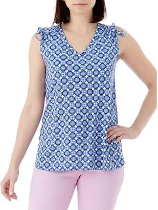 Olsen Santorini Printed Tie Shoulder Sleeveless Top