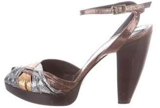 Fendi Metallic Peep-Toe Sandal