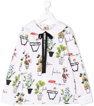 Oscar de la Renta Kids flower pots print blouse