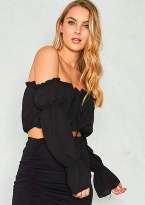 Missy Empire Holly Black Bardot Chiffon Ruffle Hem Crop Top