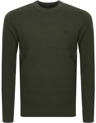Fred Perry Waffle Crew Neck Knit Jumper Green