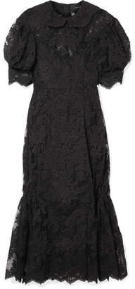 Simone Rocha Corded Lace And Tulle Midi Dress - Black
