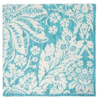 D'Ascoli Set Of Four Garden Floral Print Cotton Napkins - Blue Multi