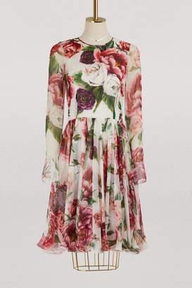 Dolce & Gabbana Pionies print silk dress