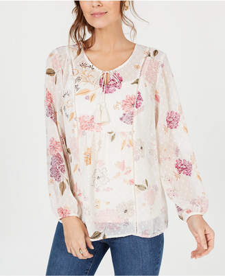 Style&Co. Style & Co Floral-Print Tassel-Tie Peasant Top