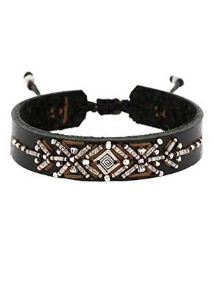Chan Luu Adjustable Leather Cuff Bracelet in Black Mix