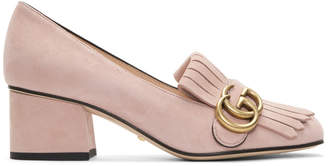 Gucci Pink Suede GG Marmont Loafer Heels