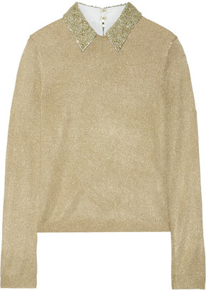 Alice + Olivia - Dia Embellished Metallic Knitted Sweater - Gold $420 thestylecure.com