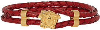 Versace Red and Gold Leather Medusa Wrap Bracelet