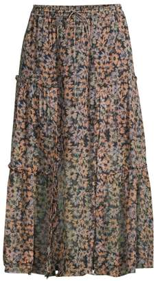 Coach Floral Silk Tiered Ruffled Midi Skirt