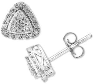 Effy Diamond Triangle Halo Cluster Stud Earrings (1/3 ct. t.w.) in 14k White Gold