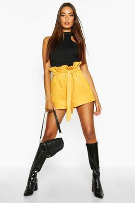 boohoo Paper Bag Waist Tie Belted Shorts
