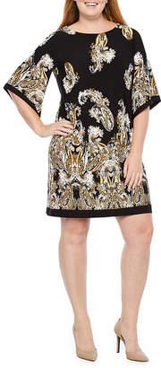 Studio 1 3/4 Sleeve Paisley Shift Dress-Plus