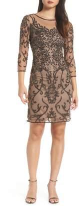 Pisarro Nights Embellished Mesh Sheath Dress