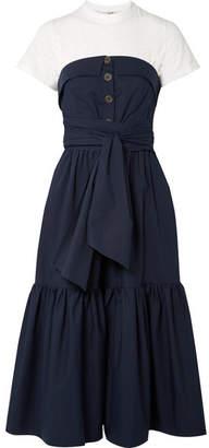 Sea Beatrix Layered Cotton-blend Midi Dress - Midnight blue