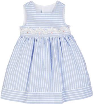 Luli & Me Striped Lace-Trim Sleeveless Dress, Size 12-24 Months