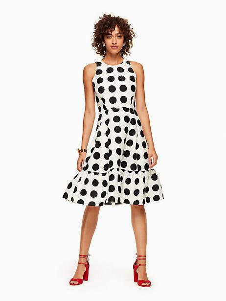Grid dot flounce dress