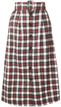 Isa Arfen belted plaid skirt
