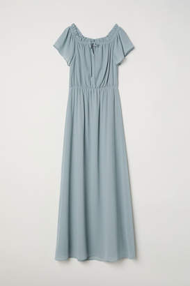H&M Long Off-the-shoulder Dress - Turquoise