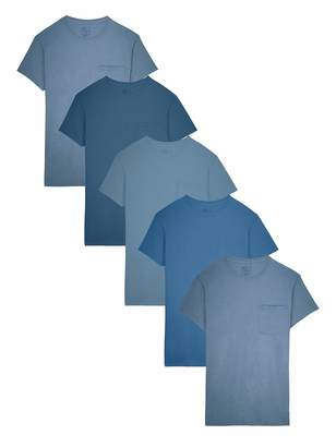 Fruit of the Loom Men's 5-Pack Tonal Blue Pocket T-Shirt, Assorted