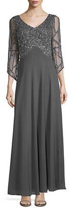 J Kara Geo-Embroidered V-Neck Gown