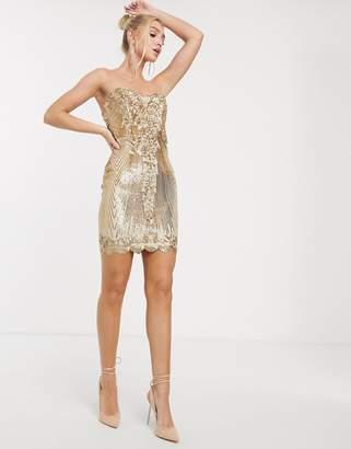 Goddiva sweetheart neck sequin mini dress in gold