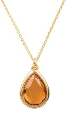 Latelita London - Pisa Mini Teardrop Necklace Gold Citrine
