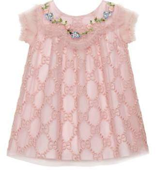 Gucci Baby GG embroidered tulle dress