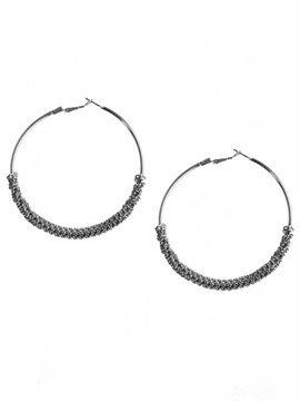 Metal Beaded Hoop Earring