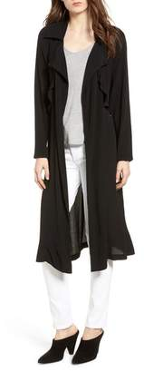 Trouve Ruffle Drape Front Belted Duster Jacket