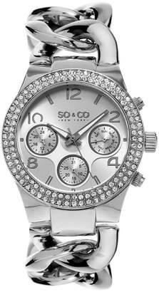 Co SO & NY Womens Soho Stainless Steel Bracelet Crystal Studded Bezel Dress Quartz Watch J155P12