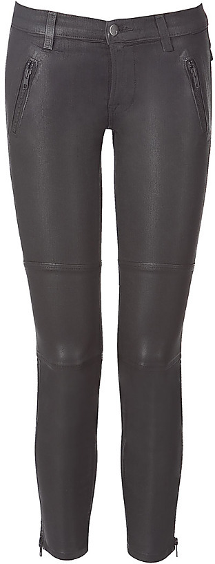 J BRAND Greystealth Coated Modern Moto-Zip Pants