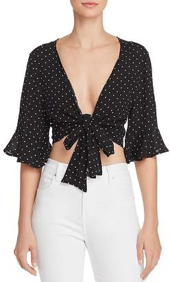 Blu Pepper Polka Dot Tie-Front Cropped Top