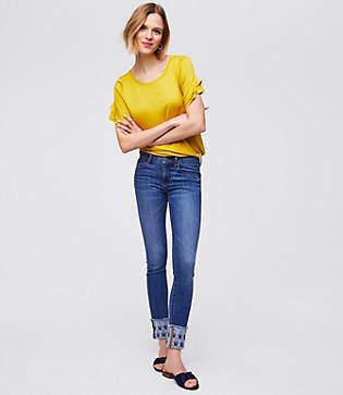 LOFT Petite Modern Floral Embroidered Cuffed Skinny Jeans