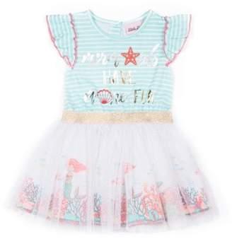 Little Lass Belted Lace Ruffle Dress (Baby Girls & Toddler Girls)