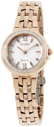 Citizen Silhouette EM044359A Rose Gold Tone Stainless Steel with Diamond White Dial 28mm Womens Watch