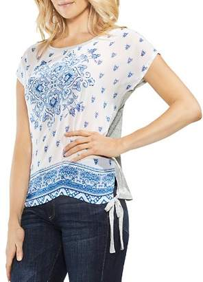 Vince Camuto Mixed Media Side-Tie Top
