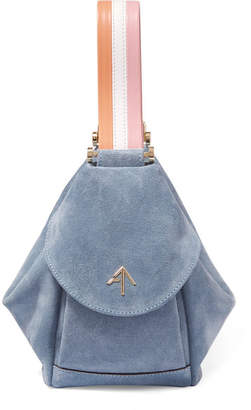 Atelier MANU Fernweh Micro Leather-trimmed Suede Wristlet Bag - Light blue