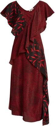 Diane von Furstenberg Easton Dot and Shelton-print silk dress