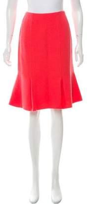 Oscar de la Renta Fluted Wool Skirt