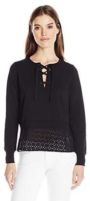 525 America Women's Sweatshirt/Eyelet Crop Lace up Top