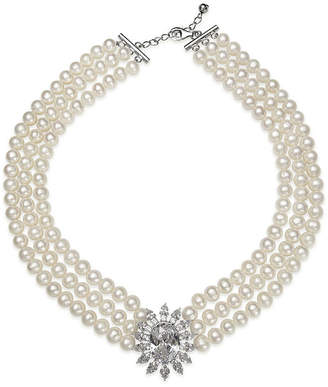 FINE JEWELRY Cultured Freshwater Pearl and Cubic Zirconia 3-Row Necklace