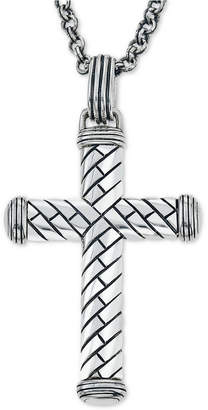 Macy's Esquire Men's Jewelry Decorative Cross Pendant Necklace in Sterling Silver, Created for