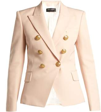 Balmain Double-breasted wool grain de poudre blazer