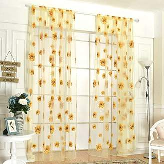 Fenta Door Window Sheer Sunflower Floral Drape Panel Balcony Curtain Scarfs Valances
