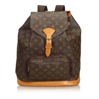 ... Louis Vuitton Vintage Montsouris Brown Cloth Backpacks 8567918acb353