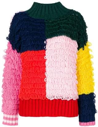 Mira Mikati loop-knit patchwork sweater