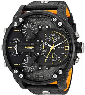 Diesel Men's Mr. Daddy 2.0 Black IP and Black Leather Chronograph Watch DZ7407