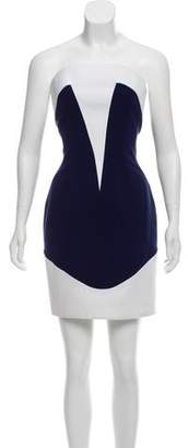 Thierry Mugler Strapless Colorblock Dress